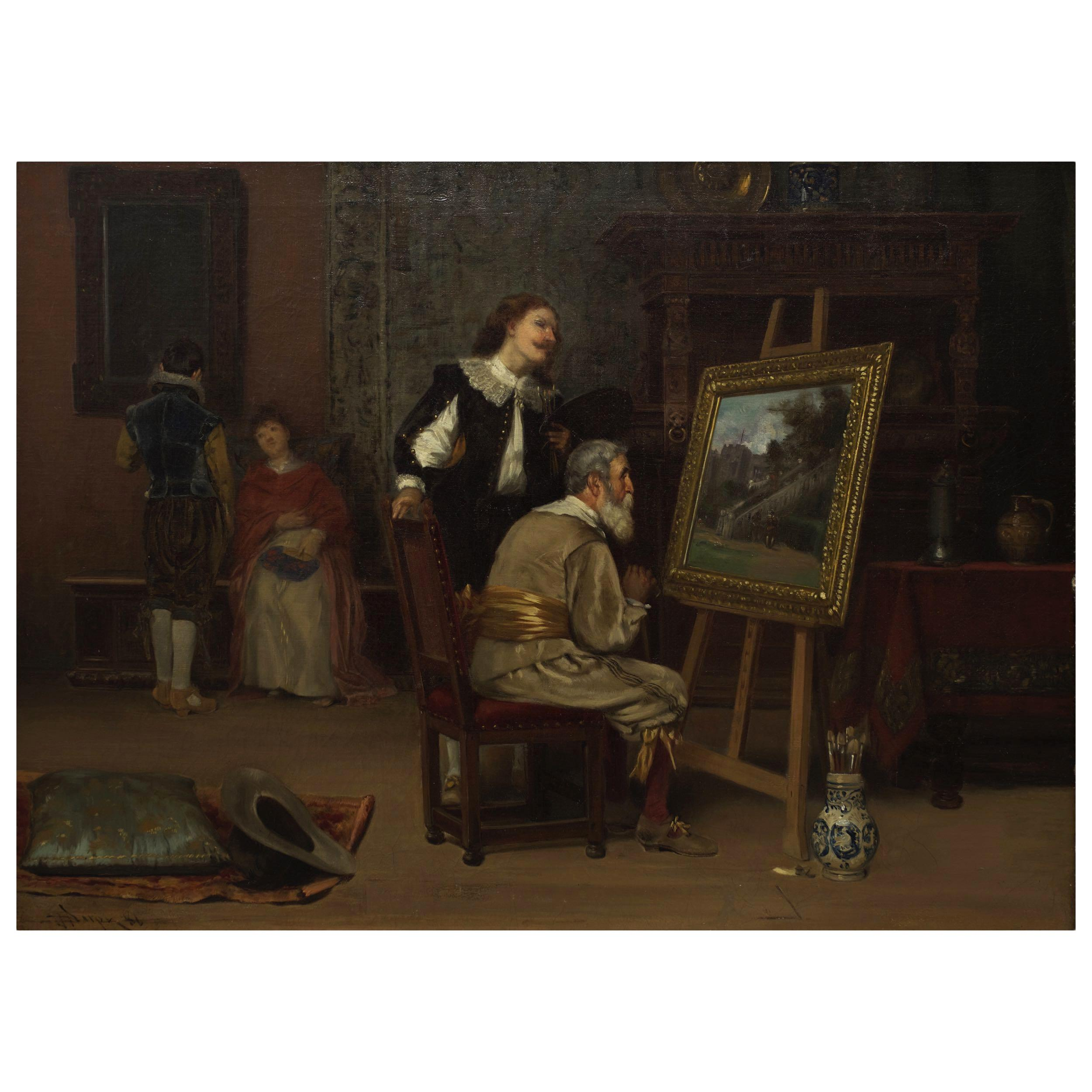 """Painting of """"The Art Critic"""" '1886' by John Henry Dolph 'American'"""