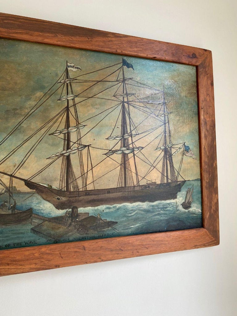 Folk Art Painting of Clipper Ship 'Witch of the Wave at Anchor in Boston Harbor' ca 1850 For Sale
