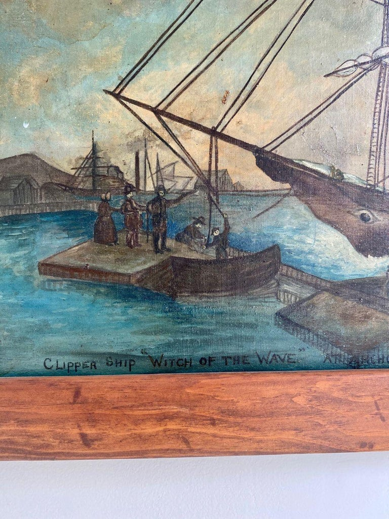 American Painting of Clipper Ship 'Witch of the Wave at Anchor in Boston Harbor' ca 1850 For Sale