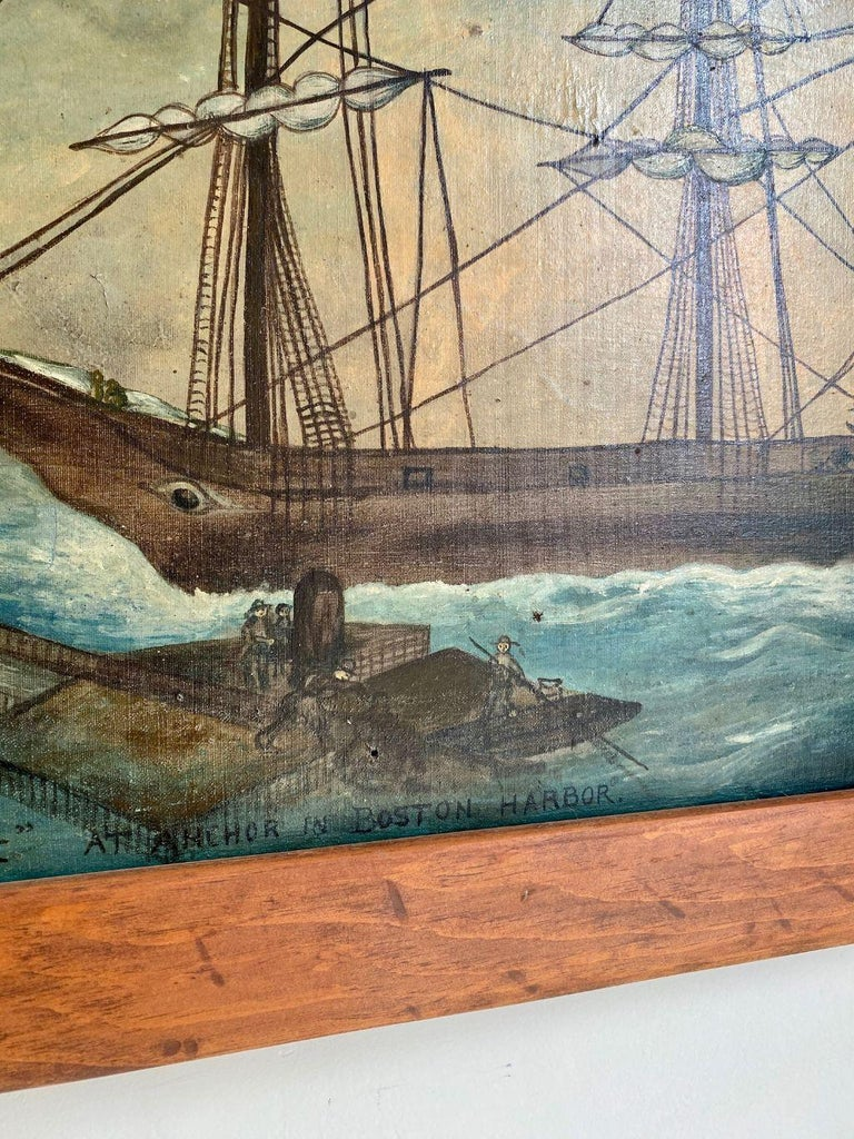 Hand-Painted Painting of Clipper Ship 'Witch of the Wave at Anchor in Boston Harbor' ca 1850 For Sale