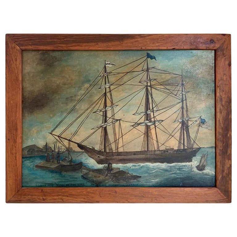 Painting of Clipper Ship 'Witch of the Wave at Anchor in Boston Harbor' ca 1850 For Sale