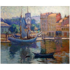 Painting of the Port of Honfleur by Marie-Anne de Nivoulies