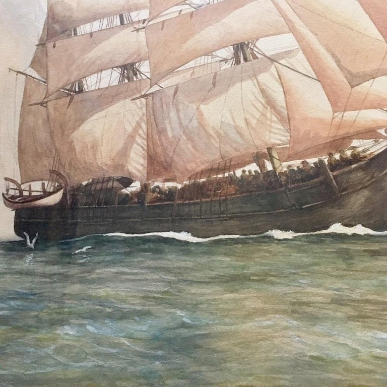Hand-Painted Painting of the Whaleship
