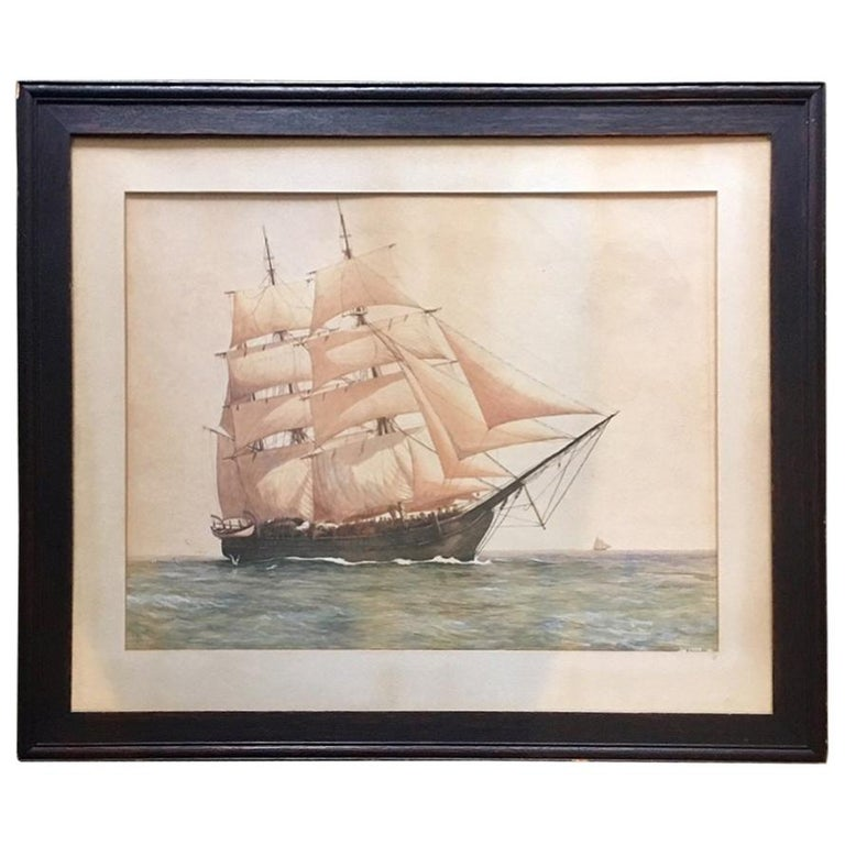 """Painting of the Whaleship """"Charles W. Morgan"""" by James Cree, circa 1921 For Sale"""