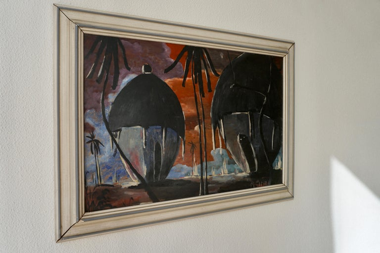Mid-Century Modern Painting of Traditional Huts from Congo, Signed by M Simbi For Sale