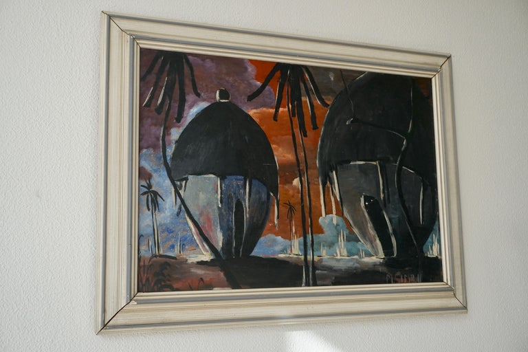 20th Century Painting of Traditional Huts from Congo, Signed by M Simbi For Sale