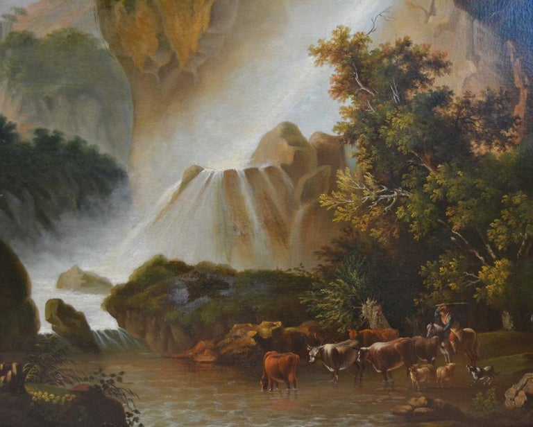 Painted Painting of Travellers at Tivoli Falls Outside Rome After Claude Joseph Vernet For Sale