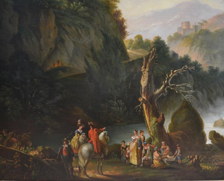 19th Century Painting of Travellers at Tivoli Falls Outside Rome After Claude Joseph Vernet For Sale