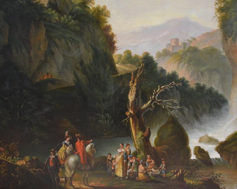 Canvas Painting of Travellers at Tivoli Falls Outside Rome After Claude Joseph Vernet For Sale