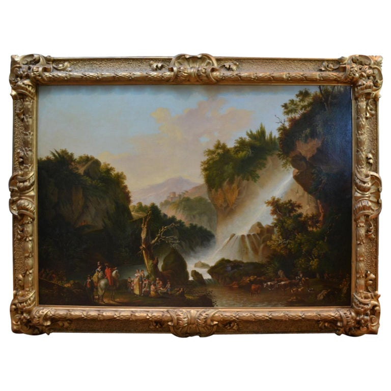 Painting of Travellers at Tivoli Falls Outside Rome After Claude Joseph Vernet For Sale