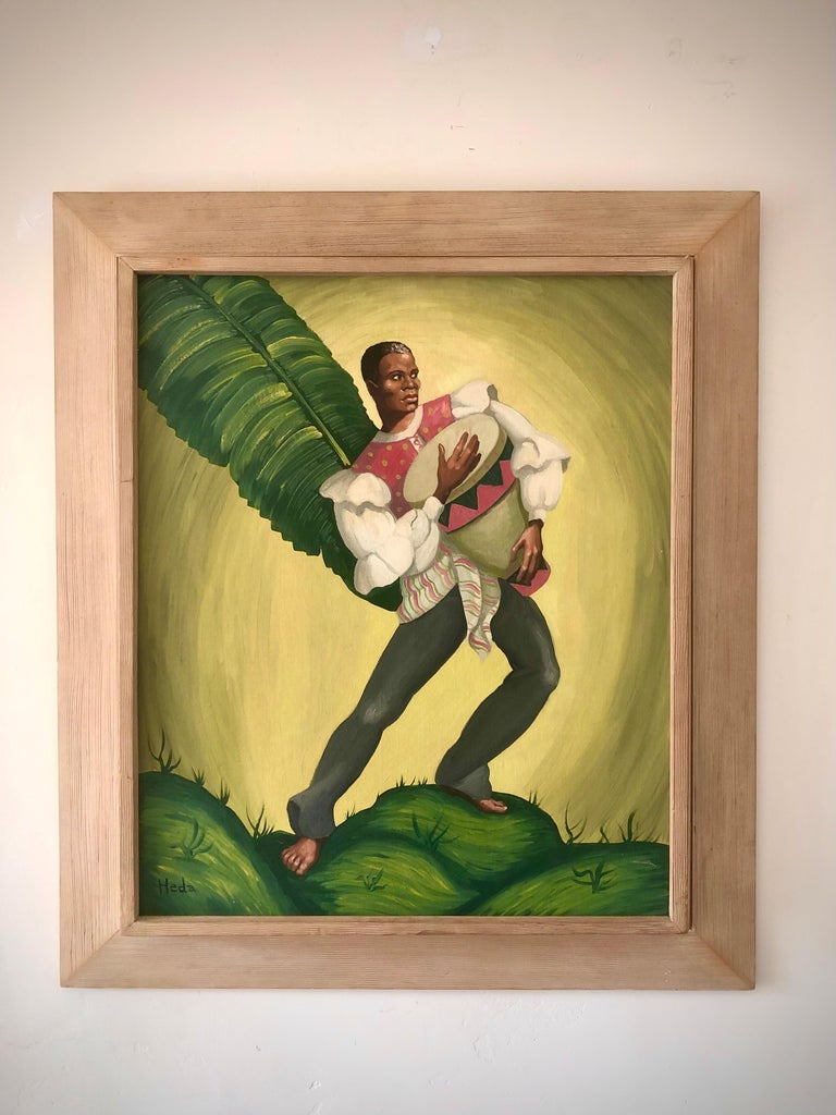 Whimsical paintings by Heda of a male and female Haitian dancer each wonderfully framed in unique vintage wooden frames.
