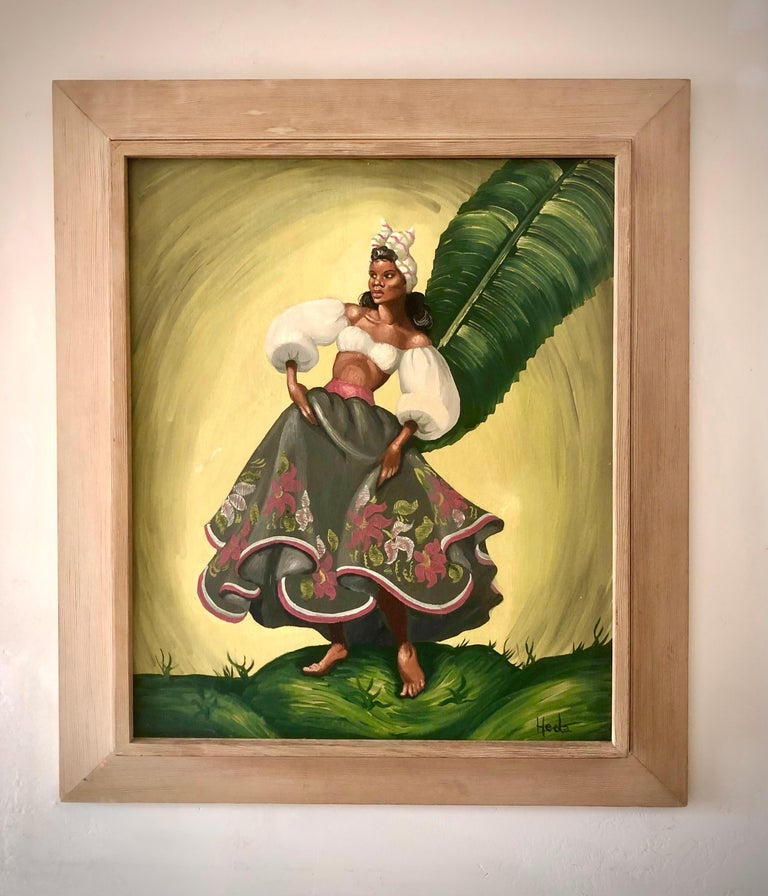 Folk Art Painting of tropical Dancers signed: Heda, 1960s For Sale