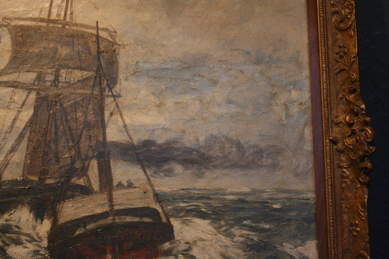 Painting Oil on Canvas, Fishing Boats On The High Seas, by Andreas Dirks 4