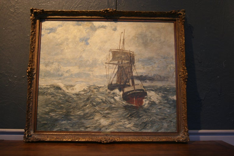 Painting Oil on Canvas, Fishing Boats On The High Seas, by Andreas Dirks 6
