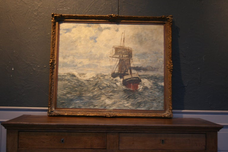 German Painting Oil on Canvas, Fishing Boats On The High Seas, by Andreas Dirks