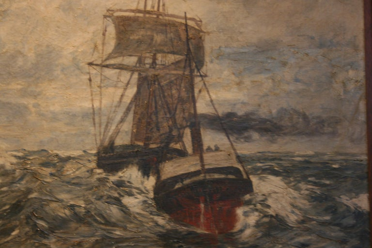 Painting Oil on Canvas, Fishing Boats On The High Seas, by Andreas Dirks 1
