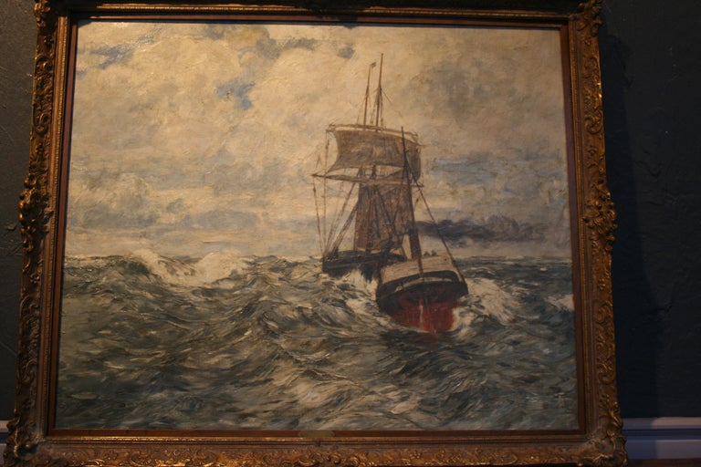 Painting Oil on Canvas, Fishing Boats On The High Seas, by Andreas Dirks 2