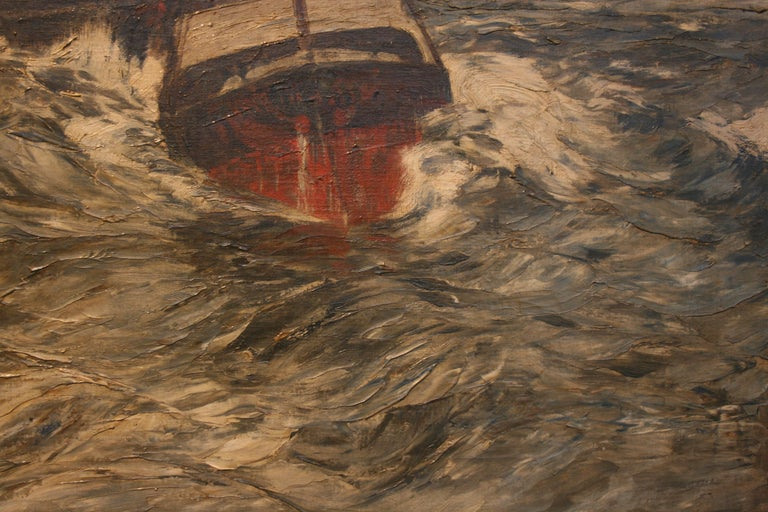 Painting Oil on Canvas, Fishing Boats On The High Seas, by Andreas Dirks 3