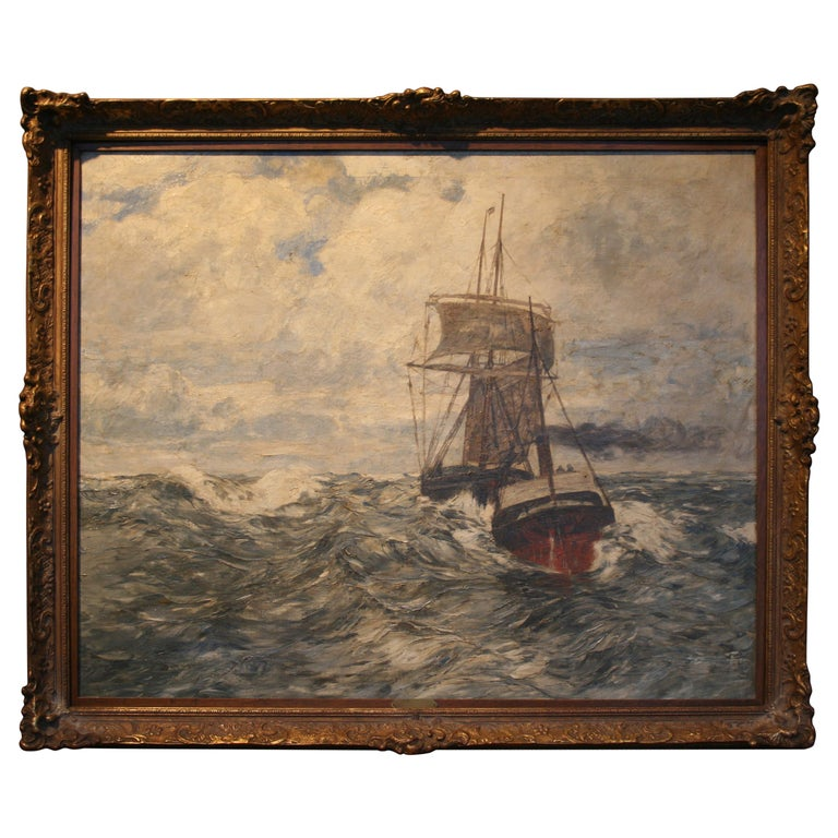 Painting Oil on Canvas, Fishing Boats On The High Seas, by Andreas Dirks