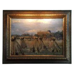 Painting Oil on Canvas Haystack Harvest Landscape Beautiful Light and Color