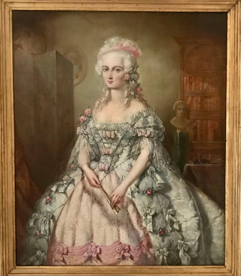 A studio portrait of aristocracy, half-length, wearing a cream and pink lace-trimmed dress, holding a folded hand fan.Painted by Johann Heinrich Tischbein. German, mid-18th century.  Notes: Johann Heinrich Tischbein the Elder, called the