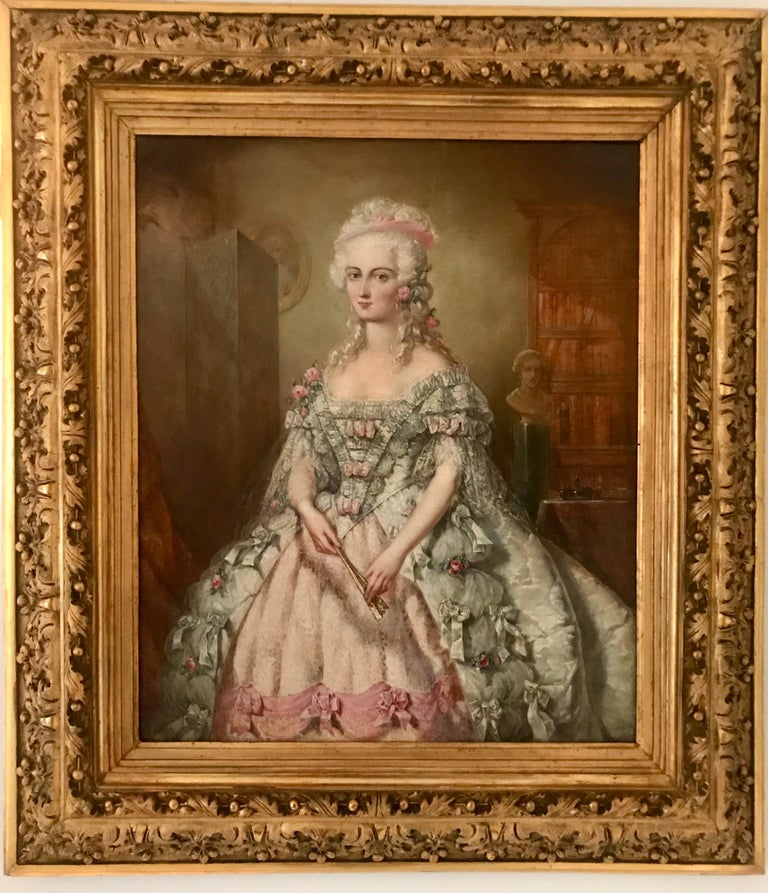 Rococo Painting, Oil on Canvas of Aristocracy, by Johann Heinrich Tischbein For Sale