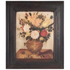 Painting on Alabaster, Flemish, 17th Century, Representative a Bouquet of Flower
