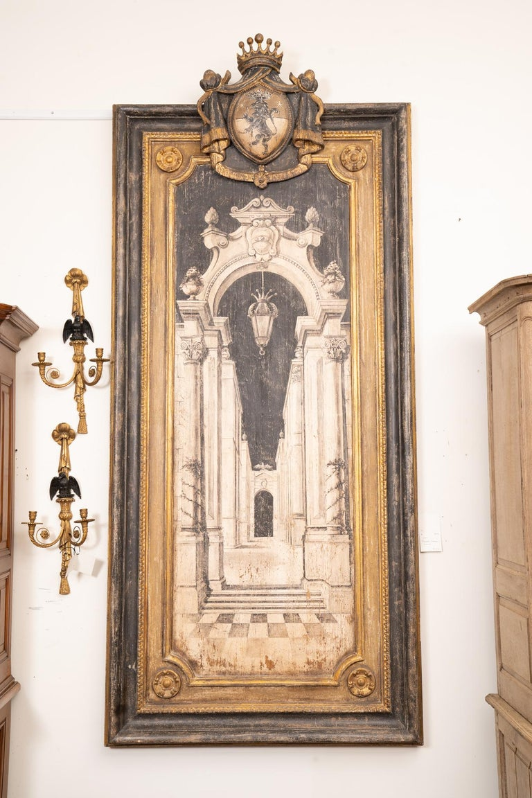 Large scale decorative architectural painting on board of a scene in the Vatican.
