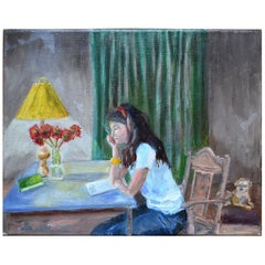 Painting on Canvas of Girl and Her Dog