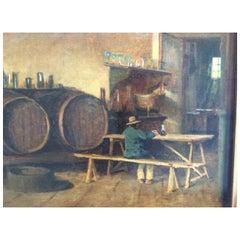 Painting on Wood Italian Wine Cellar
