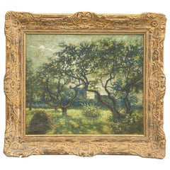 Painting Orchard with Blossoming Trees, Unknown French Painter
