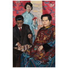 Painting Portait of Chinese Playing Poker by Erwin Bindewald (1897-1950), Oil