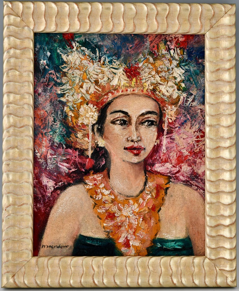 Painting, portrait of a Balinese beauty by Dr. R. M Moerdowo (1919- 1986) Ca; 1960/1970. Oil on canvas, gilt wood frame.  Works in the collection of the NEKA museum, Bali. ? R.M. Moerdowo, Reflections on Balinese Traditional and Modern Arts,