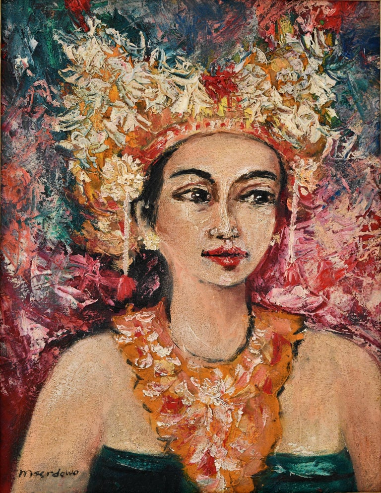 Mid-Century Modern Painting, Portrait of a Balinese Beauty Dr. R. M Moerdowo, 1960 For Sale