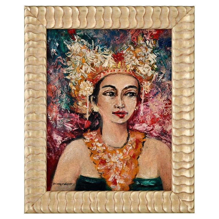 Painting, Portrait of a Balinese Beauty Dr. R. M Moerdowo, 1960 For Sale