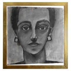 Painting, Portrait of a Lady, Charcoal, Large Size with Gold Frame, C 1960, Art
