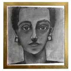 Painting, Portrait of a Lady, Charcoal, Large Size with Gold Frame, C 1960
