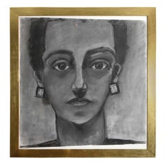 Painting, Portrait of a Lady, circa 1960, Charcoal, with Gold Frame