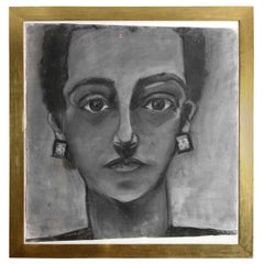 Painting, Portrait of a Lady, circa 1960, Charcoal, with Gold Frame, Modern Art