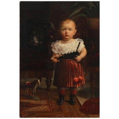 Painting Portrait of Boy with Toy Horse