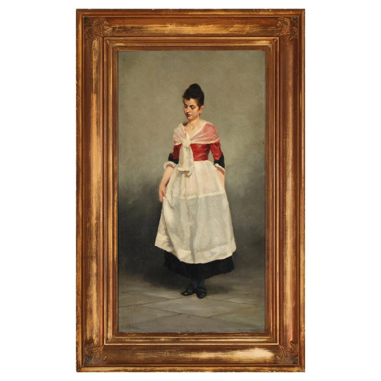 Painting Portrait of Young Woman by Gustav Vilhelm Blom For Sale