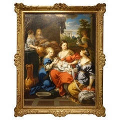 Painting Representing the Nativity of Mary, France, Oil on Canvas, 17th Century