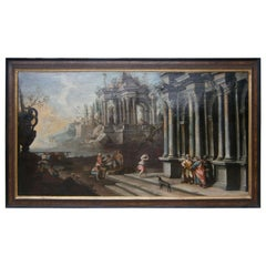 "Painting ""Roman Ruins"" Oil on Canvas, Late 18th Century"