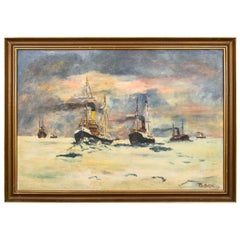 """Painting """"Ships going to the port"""", Scandinavia"""
