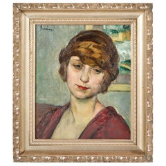 "Painting, Signed, circa 1950, Green, Red and Taupe Colors, ""Young Lady"""