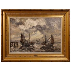 Painting Signed Emile Lammers Marina with Boats, 20th Century