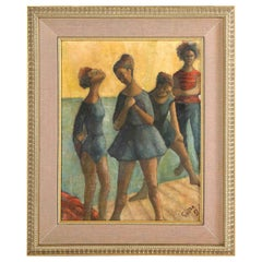 """Painting, Signed Gunter, circa 1969, Green and Blue Color, """"Dancers"""", Midcentury"""