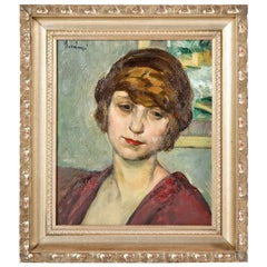 """Painting, Signed, Midcentury, Green, Red and Taupe Colors, circa 1950, """"Lady"""""""