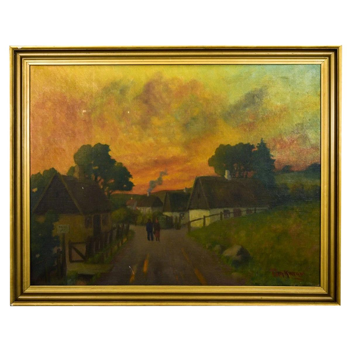 """Painting """"Sunset in the Countryside"""", Denmark, Early 20th Century"""