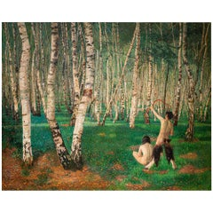Painting The Birch Forest Karl Mediz Austrian Classical Modernism Symbolism 1894